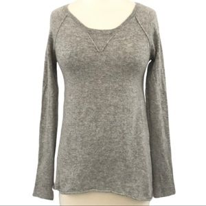 Autumn Cashmere Gray Scoop Neck Cashmere Sweater